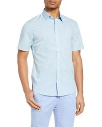 Zachary Prell Huang Classic Fit Short Sleeve Button-up Shirt - Blue