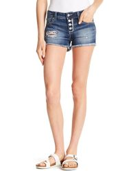 Miss Me - Distressed Button Fly Shorts - Lyst