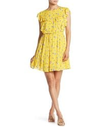 Sugarlips Ruffle Flounce Sleeve Mini Dress - Yellow