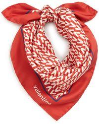 Valentino Garavani Optical V Print Silk Scarf - Red