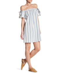 Soprano - Off-the-shoulder Stripe Dress - Lyst