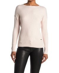 T Tahari Variegated Rib Boatneck Sweater - Pink