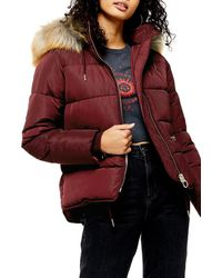 TOPSHOP Burgundy Detachable Faux Fur Hooded Padded Puffer Jacket - Red