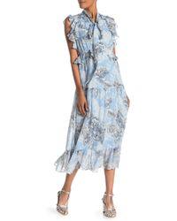 Robert Rodriguez Clara Ruffle Cotton & Silk Midi Dress - Blue
