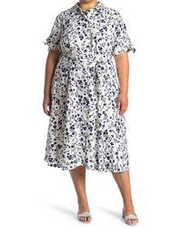 Calvin Klein Floral Waist Tie Maxi Shirt Dress - Multicolor