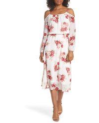 Fraiche By J Floral Cold Shoulder Midi Dress - White