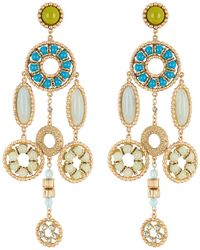 Marc Jacobs Somewhere Jewelled Statement Dangle Clip-on Earrings - Blue
