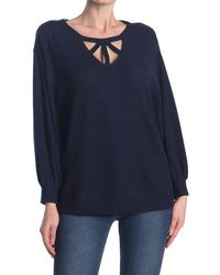 Democracy Strappy Detail Knit Top - Blue