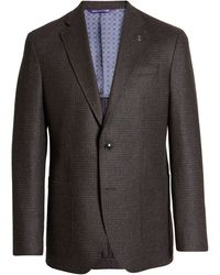 Ted Baker Kyle Rust Check Two Button Notch Lapel Slim Fit Wool Sport Coat - Gray