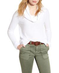 Caslon Cowl Neck Waffle Knit Top - White
