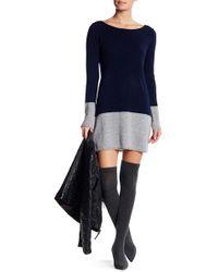 Philosophy Apparel - Long Sleeve Cashmere Colorblock Hem Sweater Dress - Lyst