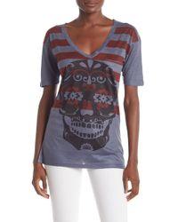 Go Couture Slub V-neck Pocket T-shirt - Multicolor