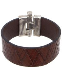 Uno De 50 Hinged Silver Plated Braided Brown Leather Bracelet