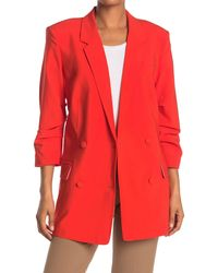 FRAME Darted Double Breasted Wool Blend Blazer - Red