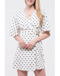 Blu Pepper Polka Dot Belted Wrap Dress - Blue