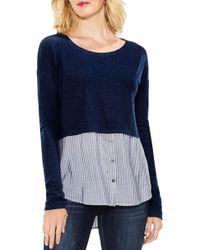 Two By Vince Camuto - Mixed Media Shirttail Hem Top - Lyst