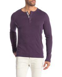Michael Kors Solid Variegated Rib Knit Henley Shirt - Purple