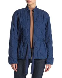 Kate Spade Quilted Chambray Tie Waist Jacket - Blue
