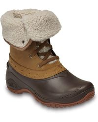 The North Face Shellista Roll Down Faux Shearling Lined Snow Boot - Brown