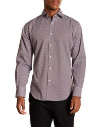 Thomas Dean - Geometric Long Sleeve Sport Fit Shirt - Lyst