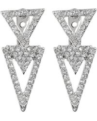 Vince Camuto - Pave Crystal Accent Triangle Front To Back Stud Earrings - Lyst