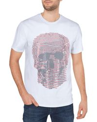 Xray Jeans Rhinestone Embellished Line Skull T-shirt - White