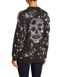 Skull Cashmere - Skye Skull Print Hi-lo Hem Sweater - Lyst