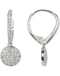 Nadri Crystal Pave Circle Drop Earrings In Rhodium At Nordstrom Rack - Metallic