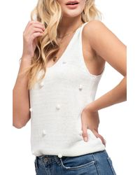 Blu Pepper Pompom Knit Tank - White