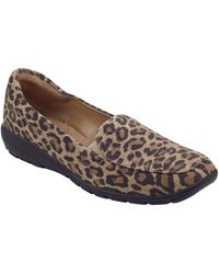Easy Spirit Abriana Leopard Print Suede Loafer - Wide Width Available - Multicolor