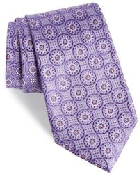 Nordstrom Kaymer Medallion Silk Tie - Purple