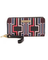 Trina Turk Geometric Zip-around Wristlet Wallet - Red