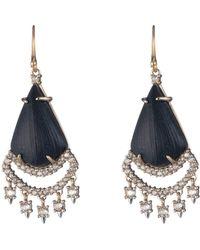 Alexis Bittar Crystal Lace Chandelier Drop Earrings - Black