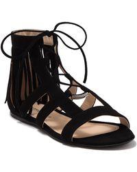 Longchamp Ghillie Lace Tassel Sandal - Black