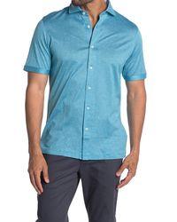 Bugatchi Textured Knit Short Sleeve Shirt - Blue