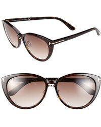 Tom Ford - 'gina' 57mm Cat Eye Sunglasses - Shiny Havana/ Gradient Brown - Lyst