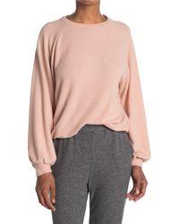 Lush Elastic Hem Raglan Sleeve Pullover - Pink