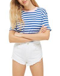 TOPSHOP Kiri Cutoff Denim Shorts - White