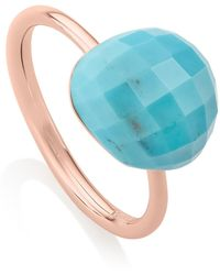Monica Vinader 18k Rose Gold Plated Sterling Silver Nura Pebble Stacking Ring - Blue