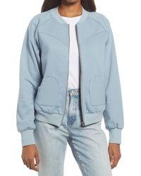 Never Fully Dressed Ft Slate Blue Hearts Bomber Jacke