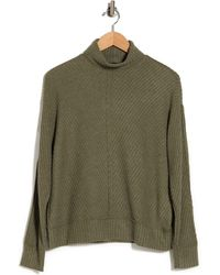 Heather by Bordeaux Mixed Waffle Turtleneck Sweater - Green