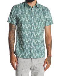 Civil Society Rockaway Squiggle Stripe Regular Fit Camp Shirt - Blue