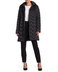 Kenneth Cole Long Quilted Coat - Black