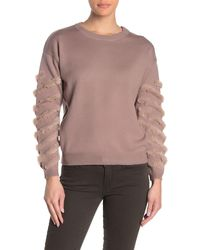 Cliche Faux Fur Sleeve Detail Pullover Knit Sweater - Multicolor