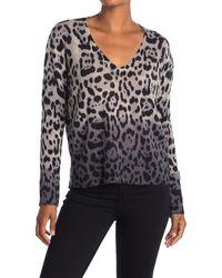 360cashmere Lauren V-neck Leopard Print Cashmere Sweater - Multicolor