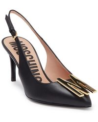 Moschino Leather Pointed Toe M Slingback Pump - Black