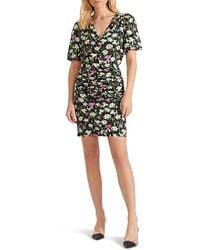 Veronica Beard Janis Ruched Skirt Floral Minidress - Black