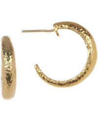 Gurhan Hammered 24k Gold Vermeil 20mm Open Hoop Earrings - Metallic