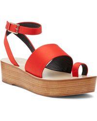 Tibi Janie Satin Flatform Sandal - Red