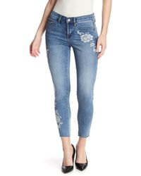 Nicole Miller - Washed Floral Embroidered Skinny Jeans - Lyst